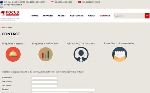 Screenshot of Support Page focusapac.com - Focus On Business - Contact Us - captured Oct. 6, 2014