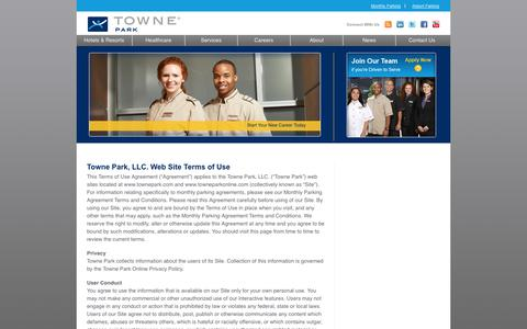 Screenshot of Terms Page townepark.com - Towne Park, LLC. Web Site Terms of Use | Towne ParkTowne Park - captured Sept. 17, 2014