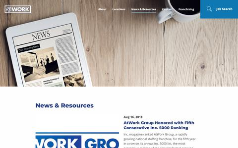 Screenshot of Press Page atwork.com - AtWork Group News and Resources | AtWork - captured Aug. 20, 2018