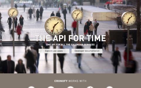 Screenshot of Home Page cronofy.com - Cronofy Calendar API - One API for all calendars - captured Aug. 11, 2015