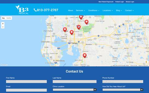Screenshot of Locations Page b3medical.com - Locations & Hours for B3 Medical in Tampa | Non-Surgical Treatments - captured Oct. 5, 2018