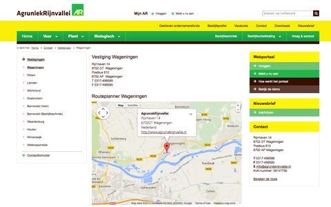 Screenshot of Contact Page agruniekrijnvallei.nl - AgruniekRijnvallei Wageningen - captured Oct. 23, 2014