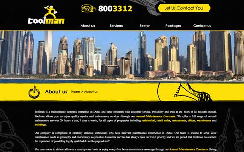 Screenshot of About Page toolman.ae - Toolman Maintenance|The Maintenance Specialists  » About us - captured Oct. 9, 2014