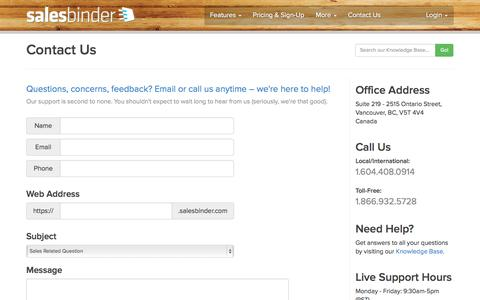 Screenshot of Contact Page salesbinder.com - SalesBinder - Online Inventory Management System in the Cloud - captured Sept. 25, 2014