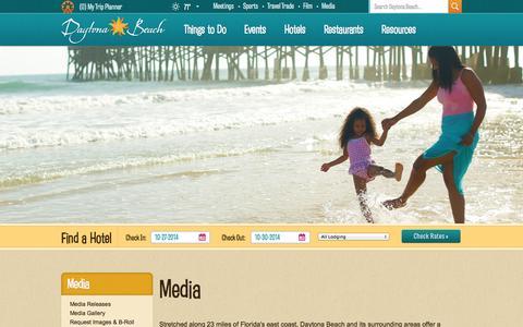 Screenshot of Press Page daytonabeach.com - Daytona Beach, FL | Daytona Beach Hotels, Resorts, Attractions - captured Oct. 27, 2014