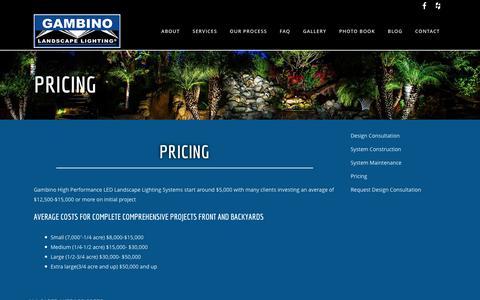 Screenshot of Pricing Page gambinolighting.com - Gambino Landscape Lighting |   Pricing - captured Jan. 26, 2016