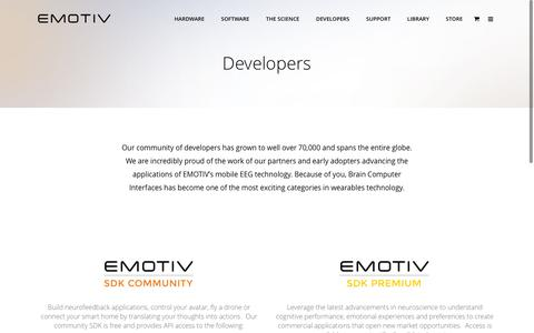 Screenshot of Developers Page emotiv.com - EMOTIV SDK and Apps for Developers and proprietary research - captured July 10, 2016