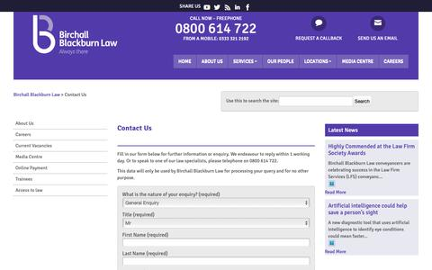 Screenshot of Contact Page birchallblackburn.co.uk - Contact Birchall Blackburn Law | Birchall Blackburn Law - captured Oct. 5, 2018