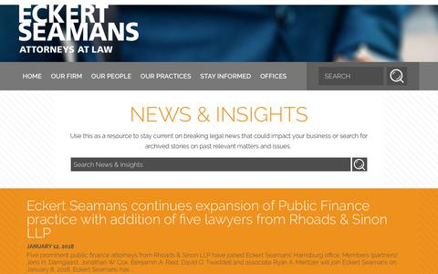 Screenshot of Press Page eckertseamans.com - News & Insights | Eckert Seamans - captured Feb. 24, 2018