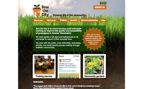 Screenshot of Home Page sowthecity.org - Sow the City - captured Sept. 30, 2014