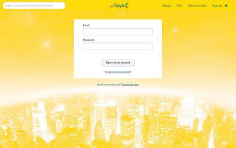 Screenshot of Login Page getsaydo.com - Sign in · SayDo™ - captured Sept. 30, 2014