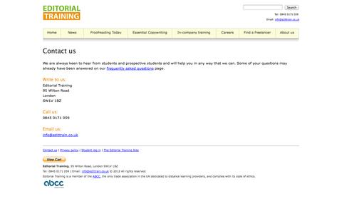 Screenshot of Contact Page edittrain.co.uk - ::EDITORIAL TRAINING:: Contact us - captured Oct. 2, 2014