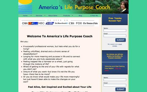 Screenshot of Home Page americaslifepurposecoach.com - Welcome to America's Life Purpose Coach - captured Jan. 27, 2015