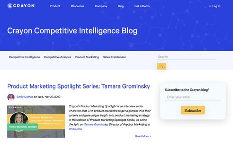 Screenshot of Blog crayon.co - Crayon Blog – Marketing Insights and Inspiration - captured Feb. 10, 2020