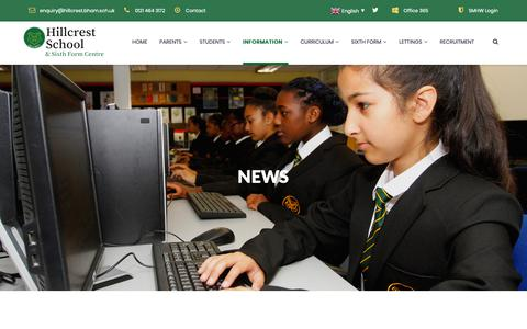 Screenshot of Press Page hillcrest.bham.sch.uk - News – Hillcrest School & Sixth Form Centre - captured Dec. 15, 2018