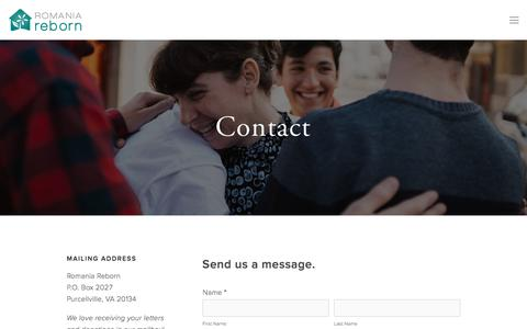 Screenshot of Contact Page romania-reborn.org - Contact — Romania Reborn - captured Nov. 5, 2017