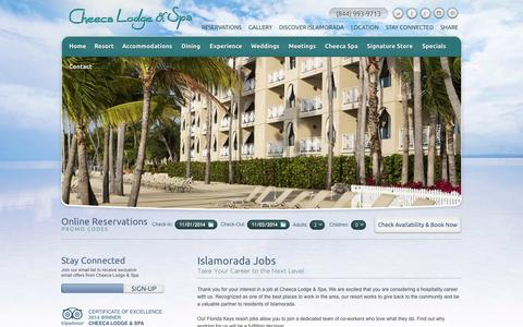 Screenshot of Jobs Page cheeca.com - Islamorada Jobs | Florida Keys Resort Jobs | Cheeca Lodge - captured Nov. 1, 2014