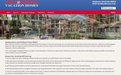 Screenshot of Products Page usahomes.co.uk - Destinations and Products from NAVH - captured Feb. 17, 2016