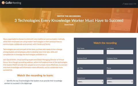 Screenshot of Landing Page gotomeeting.com - 3 Technologies Every Knowledge Worker Must Have to Succeed - captured May 6, 2018