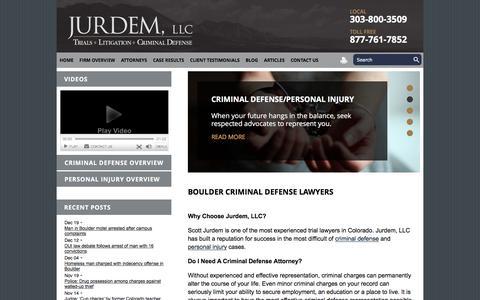 Screenshot of Home Page jurdem.com - Criminal Defense Attorney & Personal Injury Lawyer| Boulder, Colorado - captured Feb. 12, 2016