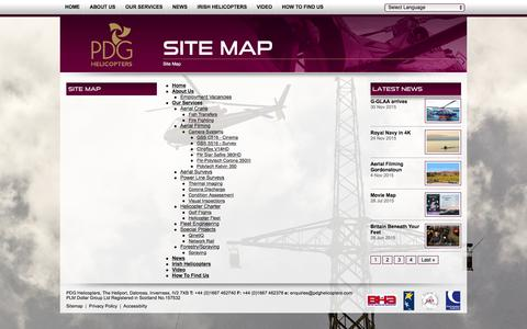 Screenshot of Site Map Page pdghelicopters.com - PDG Helicopters Sitemap - captured Dec. 5, 2015