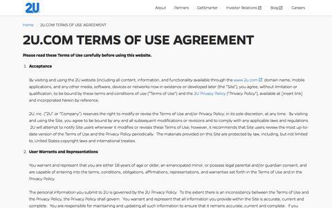 2U.COM TERMS OF USE AGREEMENT | 2U
