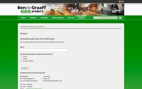 Screenshot of Contact Page bendegraaffproject.nl - Contact | Ben de Graaff project, vloeren en gordijnen specialist - captured Oct. 5, 2014