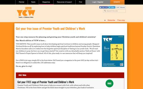 Screenshot of Trial Page youthandchildrens.work - Get your free copy of Premier Youth and Children's Work - captured March 23, 2017