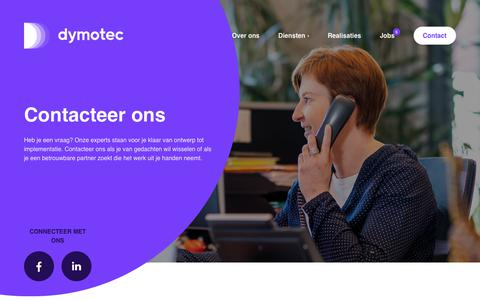 Screenshot of Contact Page dymotec.be - Contacteer ons | Dymotec - captured Aug. 9, 2018