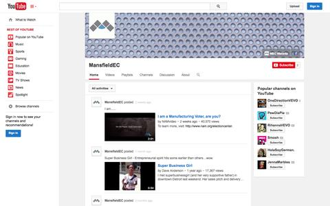 Screenshot of YouTube Page youtube.com - MansfieldEC  - YouTube - captured Oct. 23, 2014