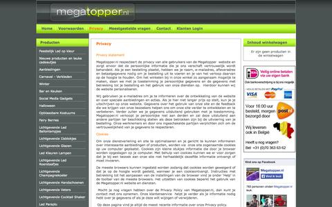 Screenshot of Privacy Page megatopper.nl - Privacy- Megatopper.nl - captured Oct. 4, 2014