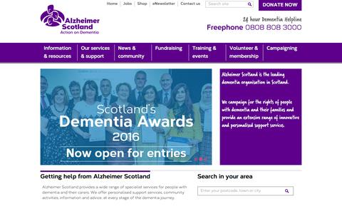 Screenshot of Home Page alzscot.org - Alzheimer Scotland - Action on Dementia - captured Feb. 5, 2016