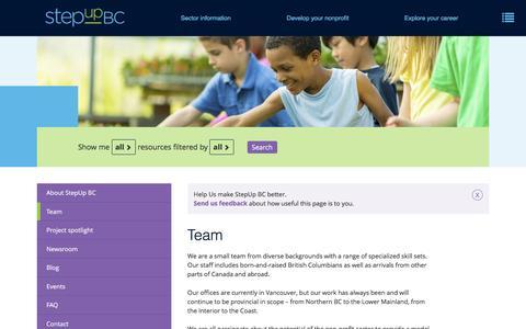 Screenshot of Team Page stepupbc.ca - Team   StepUp BC - captured Aug. 16, 2016