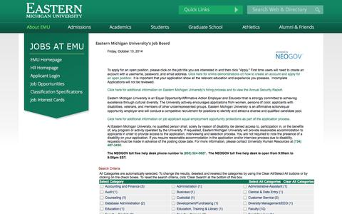 Screenshot of Jobs Page governmentjobs.com - Eastern Michigan University: About EMU - captured Oct. 10, 2014