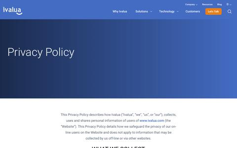 Screenshot of Privacy Page ivalua.com - Privacy Policy | Ivalua - captured Sept. 21, 2018