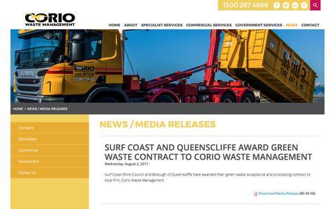 Screenshot of Press Page coriowm.com.au - News / Media Releases | Corio Waste Management - captured Aug. 26, 2017