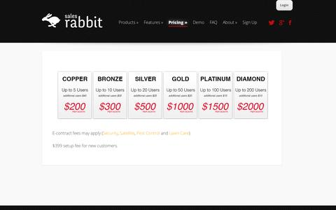 Screenshot of Pricing Page mysalesrabbit.com - Pricing - Sales Rabbit | Sales Rabbit - captured Oct. 4, 2014