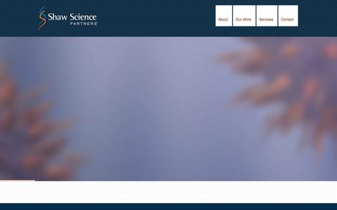Screenshot of Home Page shawscience.com - » Shaw Science Partners - captured Oct. 9, 2014