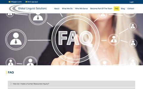 Screenshot of FAQ Page gls-corp.com - FAQ – Global Linguist Solutions - captured Nov. 8, 2016