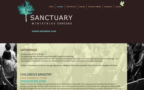 Screenshot of Services Page sanctuaryconcord.org - sanctuary-ministries | I'm New here - captured Nov. 18, 2016