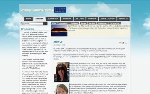 Screenshot of About Page luxuryleisuretravel.co.uk - Luxury Leisure Travel : About Us - captured Jan. 11, 2020