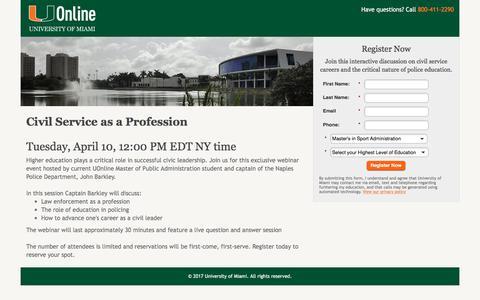 Screenshot of Landing Page miami.edu - University of Miami   UOnline - captured April 9, 2018