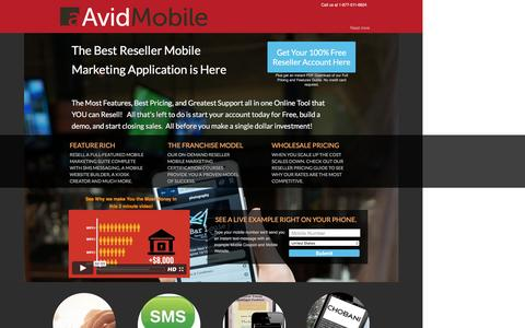 Screenshot of Landing Page avidmobile.com - Mobile Marketing Reseller, Resell mobile marketing, Sms marketing, sms service, mobile marketing application, text message marketing, sms marketing software, sms application, private label reseller, private label application, mobile marketing busines - captured Oct. 21, 2016