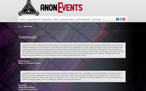 Screenshot of Testimonials Page anonevents.com - Testimonials | Anon Events - captured Sept. 30, 2014