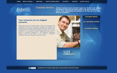 Screenshot of Support Page aidarex.com - AIDAREX Pharmaceuticals | Customer Service - captured Oct. 4, 2014