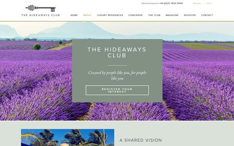 Screenshot of About Page thehideawaysclub.com - Award Winning Property Investment Club I About Us - captured Oct. 20, 2018
