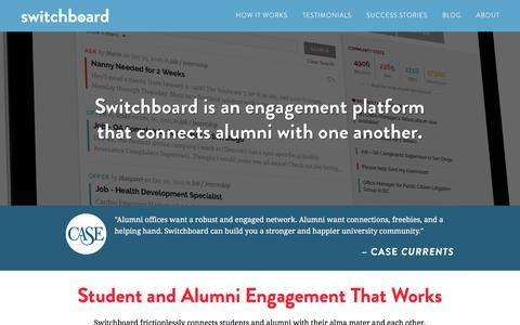 Screenshot of Home Page switchboardhq.com - Switchboard: Student & Alumni Engagement That Works - captured Jan. 19, 2016