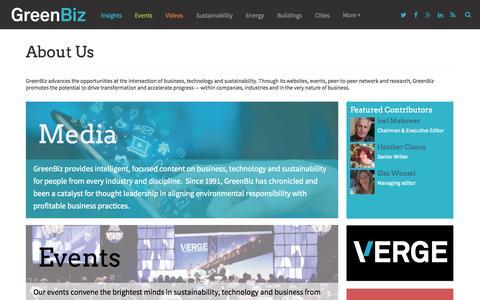 Screenshot of About Page greenbiz.com - About Us | GreenBiz - captured Oct. 30, 2014