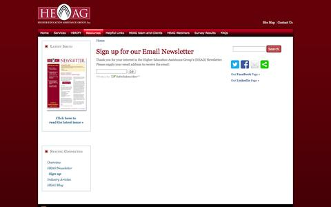 Screenshot of Signup Page heag.us - Sign up for our Email Newsletter | The Higher Education Assistance Group, Inc. ~ Higher Education Consulting and Financial Aid Consulting - captured Oct. 3, 2014