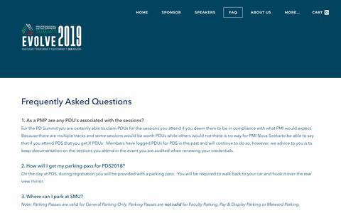 Screenshot of FAQ Page pdsummit.ca - FAQ - captured Nov. 22, 2018